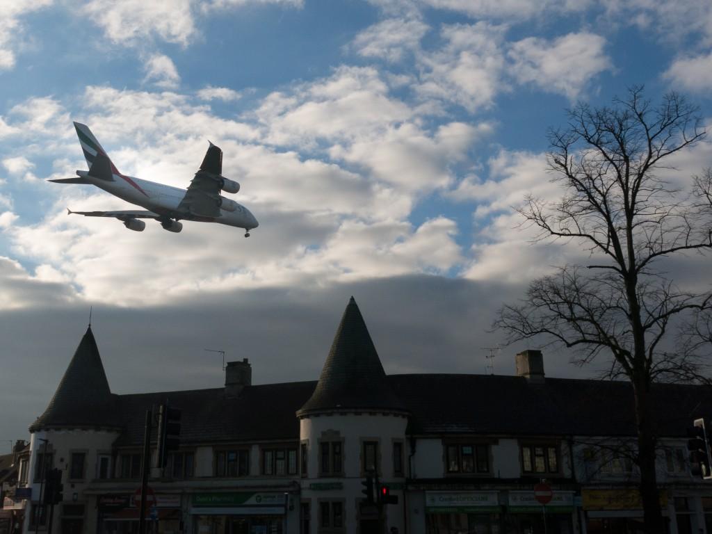 A380 over Cranford