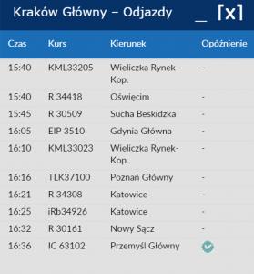 Krakow departure board