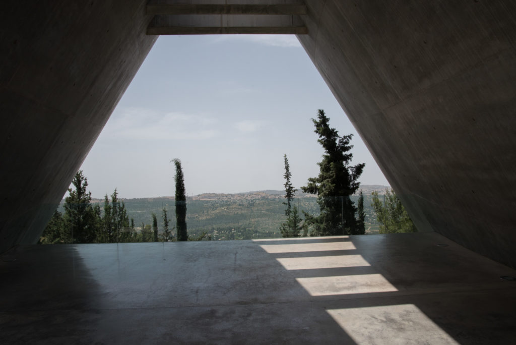 Yad Vashem - view from the museum to distant sunlit hills